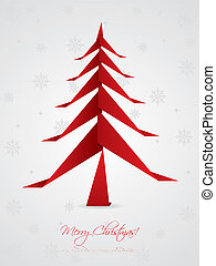Christmas greeting design with origami tree