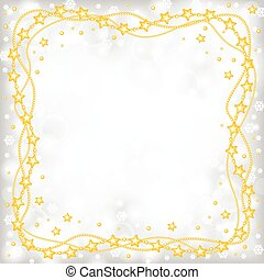 Christmas greeting frame of gold beads on blur gray background a