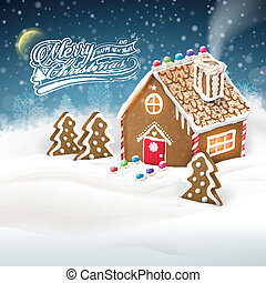 gingerbread house over snow field