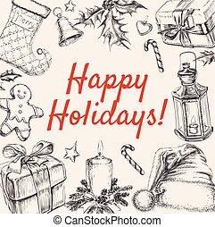 Christmas Greeting Happy Holidays Vector illustration.