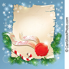 Christmas greeting magic scroll with wax seal of Santa Claus on blue snowflakes holiday background