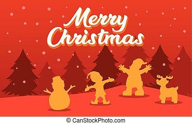 Christmas Greeting Silhouette Illustration