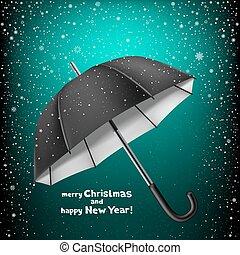 Christmas greeting snow umbrella