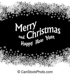 Christmas Greeting. Snowflakes frame. Vector illustration, black and white colors