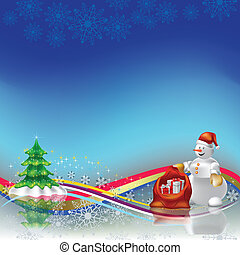 christmas greeting snowman with gifts