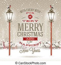 Christmas greeting type design with vintage street lantern ...