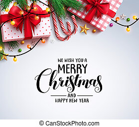 Christmas greeting vector background with text and colorful christmas elements