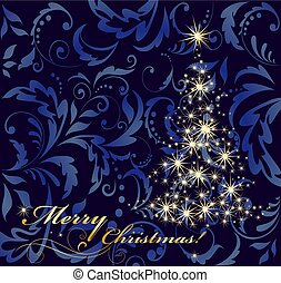 Christmas greeting vintage navy blue card with gold stars fir tree