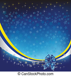 christmas greeting with blue bow