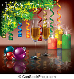 Christmas greeting with champagne and tree