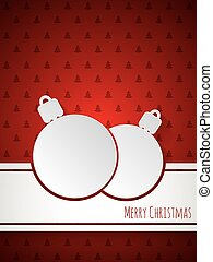 Christmas greeting with decoration and christmastree pattern background
