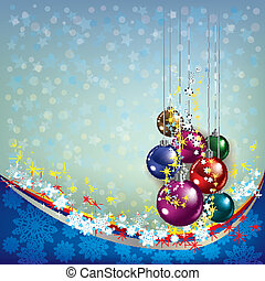 Christmas greeting with decoration on blue