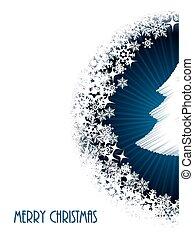 Christmas greeting with half bursting christmastree