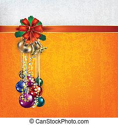 Christmas greeting with handbells and gift ribbons