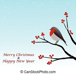 Christmas Greeting With Red Robin