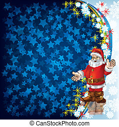 Christmas greeting magic scroll with wax seal of santa claus christmas greeting with santa claus on blue m4hsunfo Images