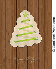 Christmas greeting with shoe lace tree and wooden background