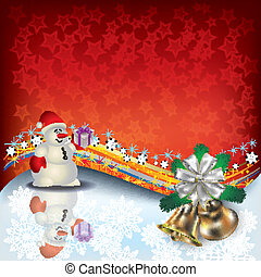 Christmas greeting with snowman