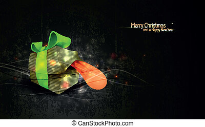 Christmas Greeting with Unique Gift Box and Highly Textured Background