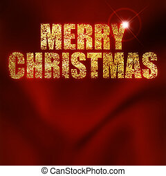 Christmas greeting written with gold powder on a red...