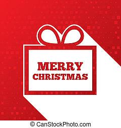 Christmas greetings card. Christmas paper gift box