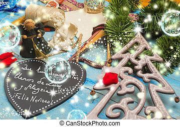 Christmas greetings card, Spanish Language