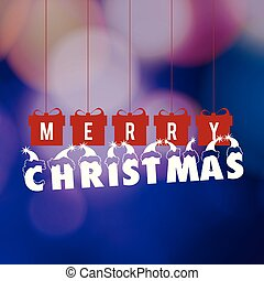 Christmas greetings card with dark background red christmas box.
