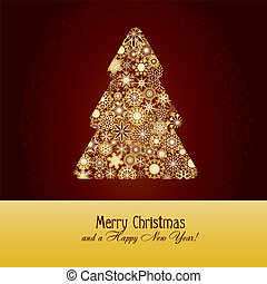Christmas greetings card with fir tree made from gold snowflakes on brown background, vector illustration