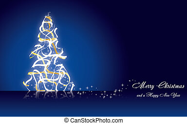 Christmas greetings card with fir tree made from golden ribbons on blue background, vector illustration eps 10.0
