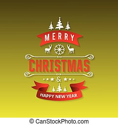 Christmas greetings card with green background and christmas tree.