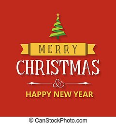 Christmas greetings card with red background