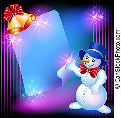 Snowman, chiming bells and signboard
