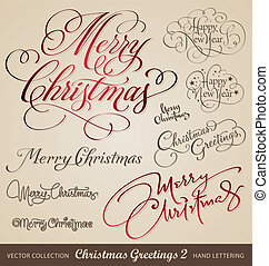 set of 9 hand lettered Christmas and New Year's greetings; scalable and editable vector illustration;