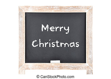 Christmas greetings on blackboard