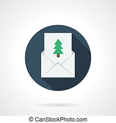 Christmas greetings round flat vector icon