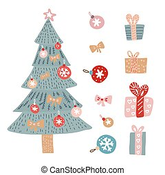 Christmas greetings set with isolated decorative winter objects - baubles, toys, gift boxes, xmas tree on white background. Hand drawn flat vector modern illustration.