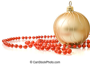 Christmas greetings - single decoration ball with red beads