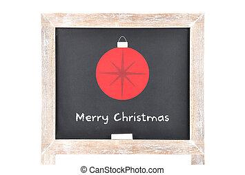 Christmas greetings with ball on blackboard