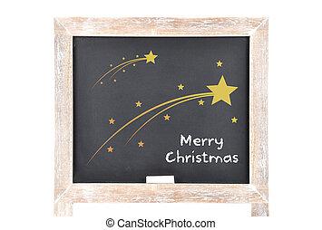 Christmas greetings with comets on blackboard