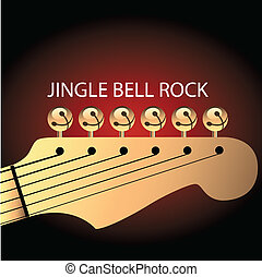 Graphic of bells on guitar to illustrate Jingle Bell Rock. Space for text.