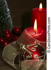 christmas gyertya, karácsony, alatt, függőleges, dekoratív,...