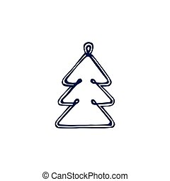 Christmas hand drawn bauble isolated on white