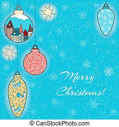 Christmas hand-drawn card with balls and stars