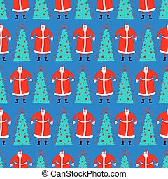 Christmas hand drawn doodle pattern seamless. Santa Claus and Christmas tree. Xmas Abstract modern trendy background. New Year vector texture