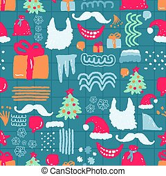Christmas hand drawn doodle pattern seamless. Xmas Abstract modern trendy background. New Year vector texture