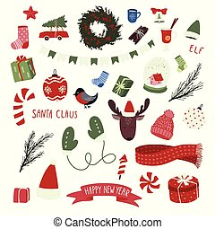 Christmas hand drawn elements set. New Year holiday signs.