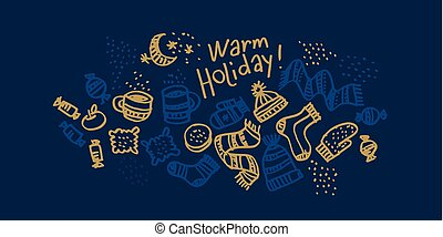 Christmas hand drawn greeting card
