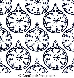 Christmas hand drawn seamless pattern with baubles