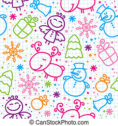 christmas hand drawn seamless pattern