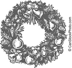 Christmas hand drawn wreath.